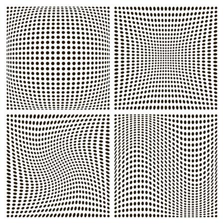 set dot pattern backgrounds, various distortion, vector distortion inflating compression and twisting Ilustração Vetorial