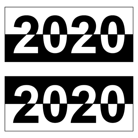 Happy new year to 2020, monochrome black and white banner, vector digit date for the year 2020 the distribution of black and white colors
