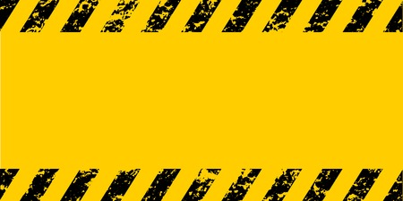 Warning frame grunge yellow and black diagonal stripes, vector grunge texture warn caution, construction, safety background Ilustrace