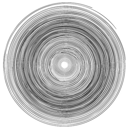 Concentric rings, circles pattern abstract monochrome element, vortex whirlpool vector Illustration