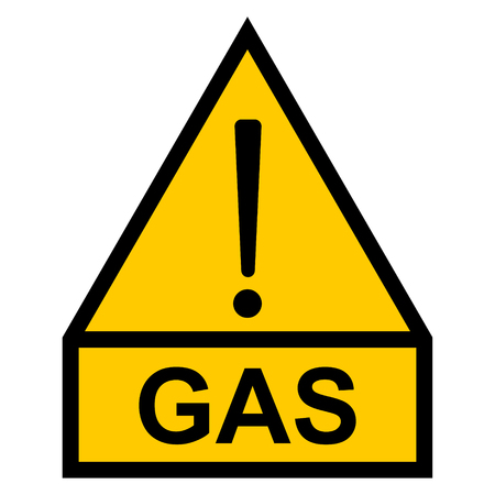 yellow hazard warning sign, exclamation mark and text word gas, vector sign for gas pipeline