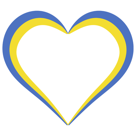 Heart shape flag of Ukraine, vector I love Ukraine, outline calligraphy of the heart color  flag
