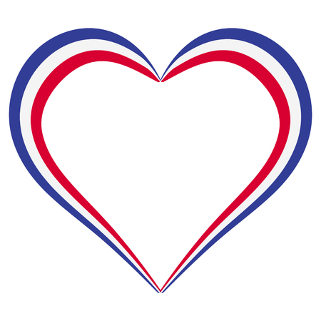Heart shape flag of France, vector I love France, outline calligraphy of the heart the color of the flag