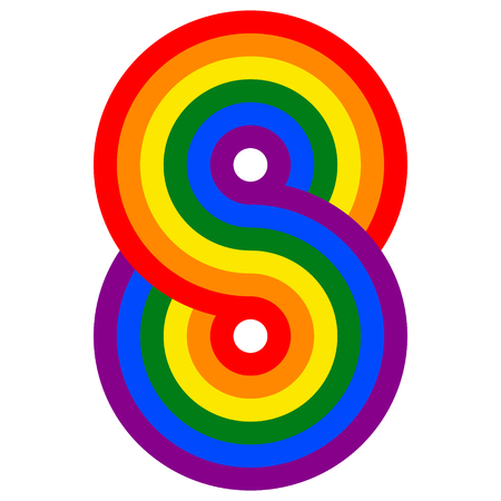 figure 8 infinity sign rainbow flag LGBT, vector sign symbol lesbian, gay, bisexual and transgender Ilustração