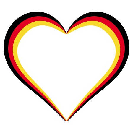 Heart shape flag of Germany, vector I love Germany, outline calligraphy of the heart the color of the flag