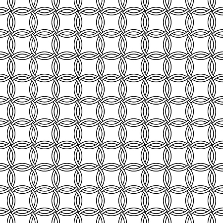 Seamless mesh pattern of round rings, vector intertwined chain mail circles, seamless chain mail rings Ilustração