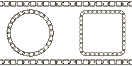 chain link pattern, circle vector and square of chain Ilustração