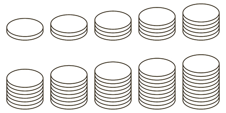 Set the icon of a stack of coins, vector icon stack of coins with a different number to display the rating on the exchange