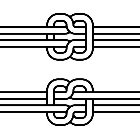 Marine self-tie knot, vector double knot concept of cohesion and teamwork Ilustração