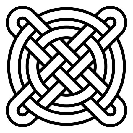 National Celtic knot pattern intertwined circles and a cross, vector Chinese pattern weaving, the symbol of happiness, wealth and good luck