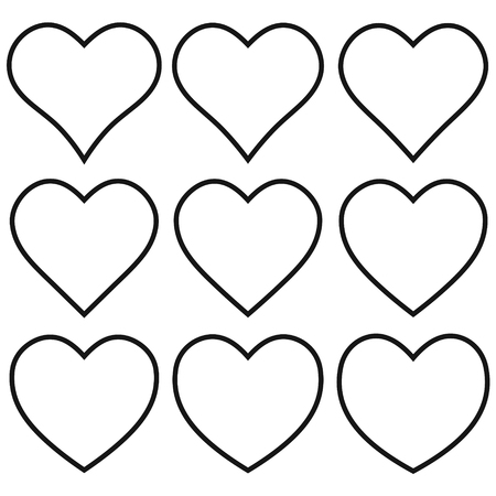 Set outline heart shape icon, vector heart shape set, for lovers on Valentine day, love symbol