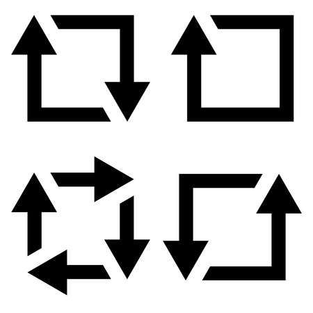 set icon repost recycling, vector contours of a square with an arrow sign symbol repost resend, recycling Ilustração