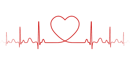 Heartbeat vector rhythm with heart one line, a symbol of positive emotions, love and inspiration, happy Valentine day