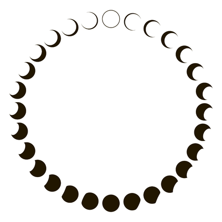 phases moon astronomy badge vector set monthly lunar segments of the moon