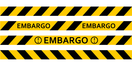 Yellow warning tape inscription embargo, vector tape, warning of the embargo, the ban on the sale of oil products Ilustração