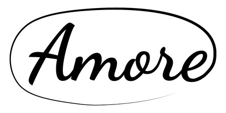slogan word AMORE phrase graphic vector amore print fashion lettering on clothes calligraphy