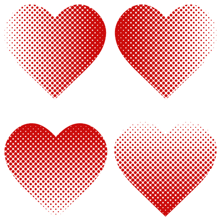 Set heart shape halftone effect, vector heart shape of dot halftone