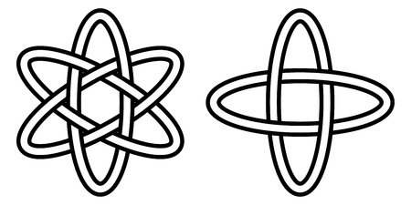 pattern digital science, the icon of the atom movement of electrons in an orbit, the vector sign of quantum physics Ilustração