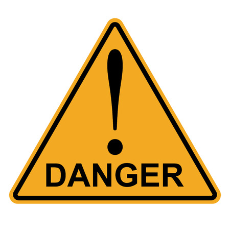 Orange yellow triangle with exclamation mark word danger, vector danger hazard warning attention sign