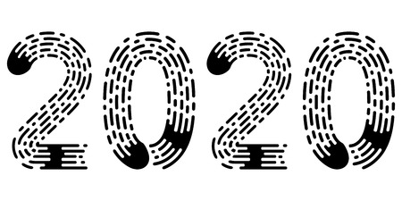 2020 lettering figure year, fingerprint style font, vector number 2020 new year hand drawn lettering calligraphy vintage subtle grunge