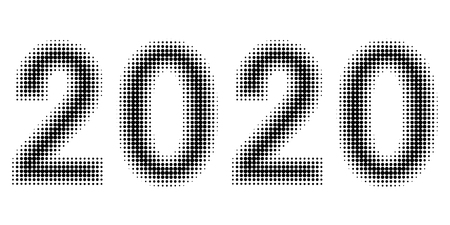 2020 new year figures date halftone style, vector 2020 halftone effect numbers. Dotted font. Dotted embossed numbers Ilustração