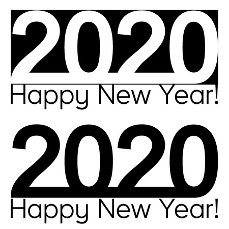 Happy New year 2020 text lettering, vector brochure design template, map, banner Ilustração