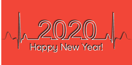 Medical Christmas banner, 2020 happy new year, vector 2020 health medical style wave heartbeat, concept healthy lifestyle, 3D effect with shadow, fitness life Ilustração