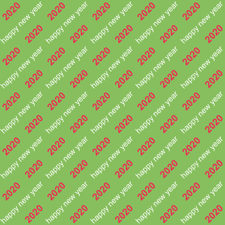 Seamless background 2020 happy new year text on a diagonal,vector seamless holiday pattern 2020 new year for replacement chrome key, or printing on gift packaging gifts Ilustração