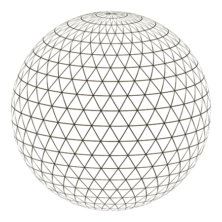 Ball sphere grid triangle on surface, vector layout globe planet earth with a grid, the concept of the virtual world Ilustração