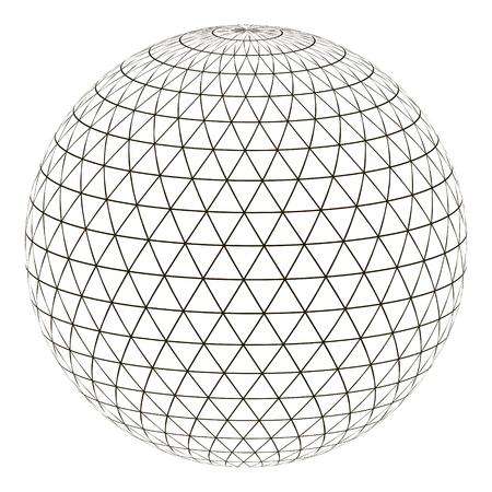 Triangle de grille de sphère de boule sur la surface, planète terre de globe de disposition de vecteur avec une grille, le concept du monde virtuel Vecteurs