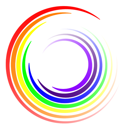 swirl of colors of the LGBT rainbow, vector swirl swirling rays of colors of the rainbow logo template Ilustração