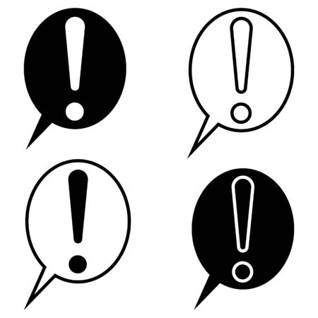 Exclamation mark speech bubble for chat, vector set exclusion point symbol of attention, emphasis and danger