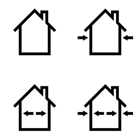 Set of icons construction home repair, outdoor and indoor works, vector symbol sign materials for indoor and outdoor repair Illusztráció
