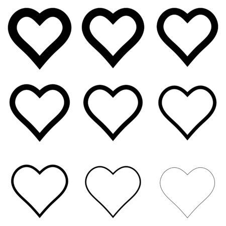 set of heart shape icons, vector symbol of love and romance hearts with thick outline stroke