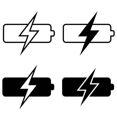 set of battery charging icons, vector battery charging sign symbol template
