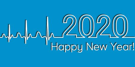 Medical Christmas banner, 2020 happy new year, vector 2020 health medical style wave heartbeat, concept fitness healthy lifestyle Illusztráció