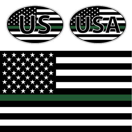 녹색 선으로 미국 경찰의 깃발 벡터 (일러스트)