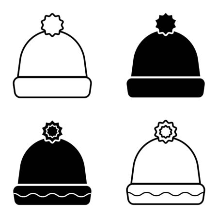 Winter warm hat with bubon, vector set of winter knitted hats Ilustrace