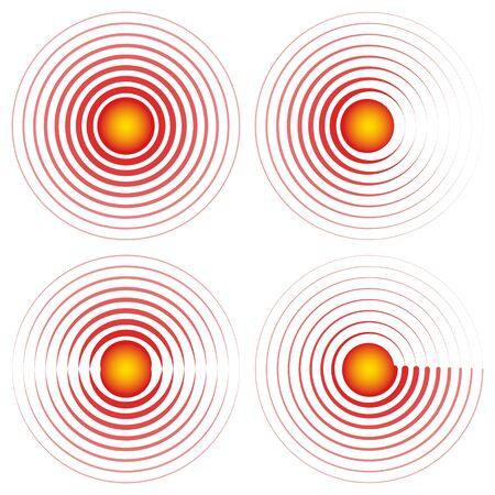 Symbole de signe vecteur de localisation de la douleur de l'épicentre cercles rouges avec icône centrale jaune articulations des maux de gorge, point douloureux ou marque de partie du corps meurtrie