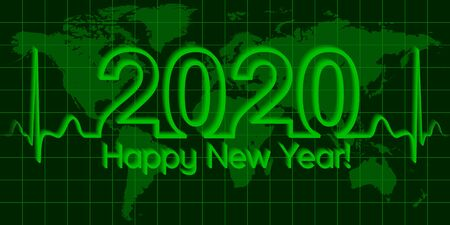 Christmas world map banner 2020 happy new year, vector 2020 the crisis, the wave matrix of cardiology, the concept of success and prosperity