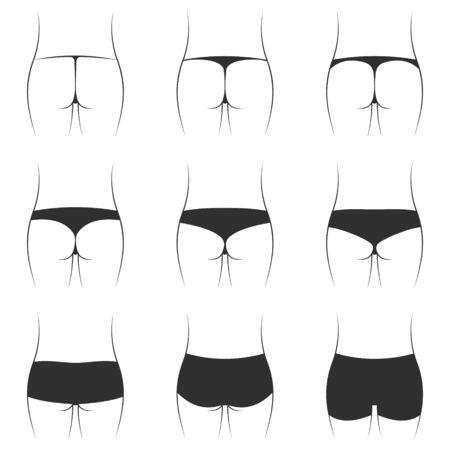 Ustaw różne modele damskie figi bikini, wektor wzór i kształt damskiej bielizny kąpielówki stringi i bikini Ilustracje wektorowe