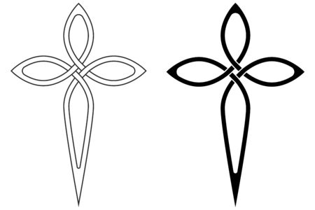 symbol faith Christian Church cross graceful contours, vector cross symbol sign of faith in God Ilustração