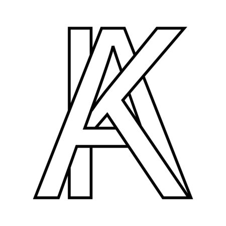 sign ak ka sign two interlaced letters A, K vector ak ka first capital letters pattern alphabet a, k