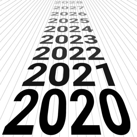 2020 new year banner background 3D perspective vector look to the future 2020 happy new year perspective