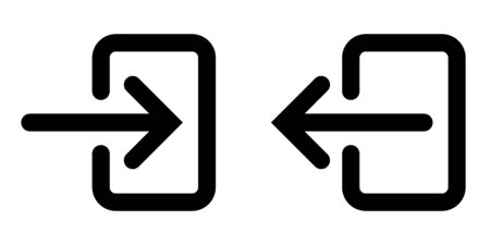 icons sign in and sign out app, vector symbol logout and login, arrow and door icon exit and entry
