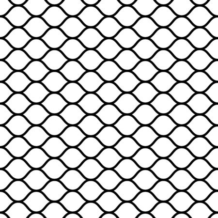 seamless mesh netting with curved wavy lines bars vector grid netting for sports ball games Ilustração