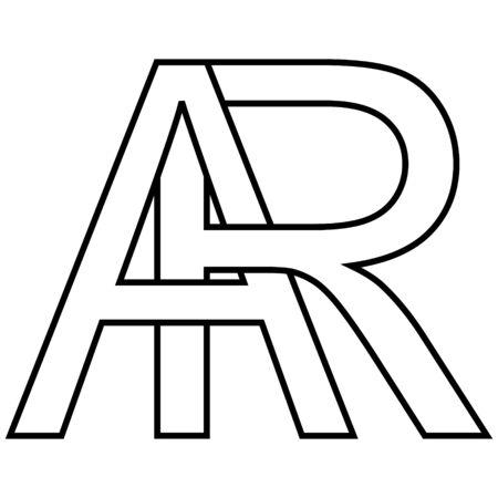 Logo sign ar, ra icon sign interlaced letters A,R vector logo ar, ra first capital letters pattern alphabet a, r Logo