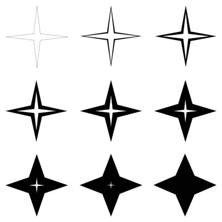 set stars with different thickness of outline shapes, vector thin and thick stars, glitter flash Illustration