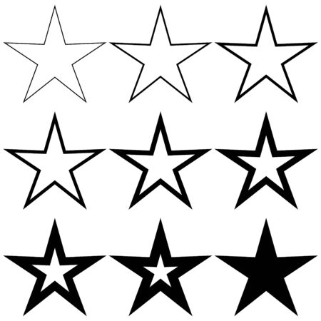 Set pentagonal stars with different stroke thickness, vector logo icon thin and thick star, symbol of radiance, new birth and light