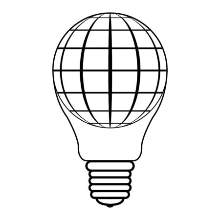 icon logo balloon in the form light bulbs and spheres globe planet earth, vector light bulb balloon concept of peace, successful business and peaceful life Illustration